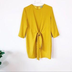 ASOS Mustard Yellow Tie-Waist Shift Dress 14